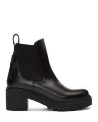 schwarze Leder Stiefeletten von Moncler
