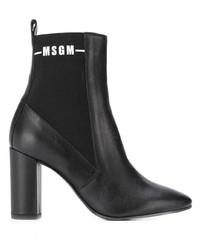 schwarze Leder Stiefeletten von MSGM