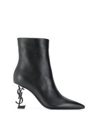 schwarze Leder Stiefeletten von Saint Laurent