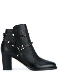 schwarze Leder Stiefeletten von Valentino Garavani