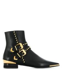schwarze Leder Stiefeletten von Versace
