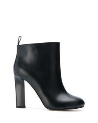 schwarze Leder Stiefeletten von Victoria Beckham