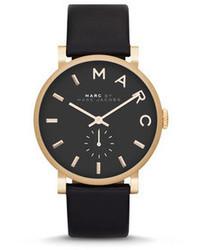 schwarze Leder Uhr