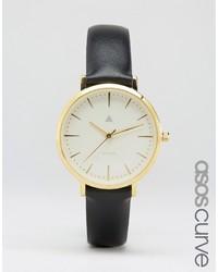 schwarze Leder Uhr von Asos