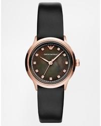 schwarze Leder Uhr von Emporio Armani