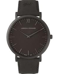 schwarze Leder Uhr von Larsson & Jennings