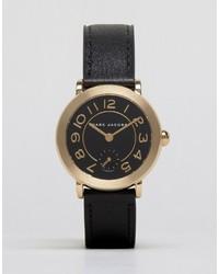 schwarze Leder Uhr von Marc Jacobs
