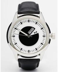 schwarze Leder Uhr von Moschino