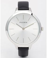 schwarze Leder Uhr von Pilgrim