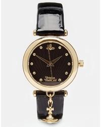 schwarze Leder Uhr von Vivienne Westwood