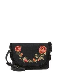 Schwarze Leder Umhängetasche mit Blumenmuster von Parfois