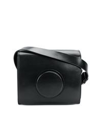 schwarze Leder Umhängetasche mit geometrischen Mustern von Lemaire