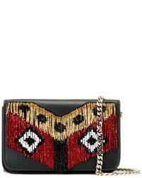 schwarze Leder Umhängetasche mit geometrischen Mustern von Les Petits Joueurs