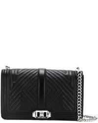 schwarze Leder Umhängetasche mit geometrischen Mustern von Rebecca Minkoff