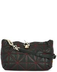 schwarze Leder Umhängetasche mit geometrischen Mustern von Sonia Rykiel