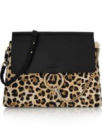 schwarze Leder Umhängetasche mit Leopardenmuster von Chloé