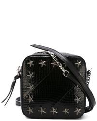schwarze Leder Umhängetasche mit Sternenmuster