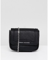 schwarze Leder Umhängetasche von Armani Exchange