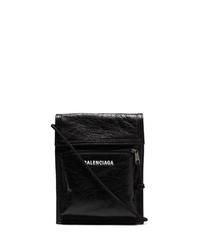 schwarze Leder Umhängetasche von Balenciaga