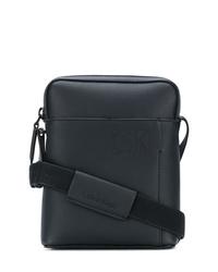 schwarze Leder Umhängetasche von Calvin Klein Jeans