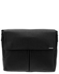 schwarze Leder Umhängetasche von Ermenegildo Zegna