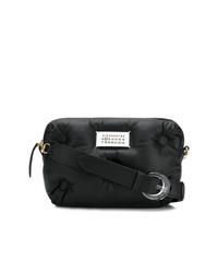 schwarze Leder Umhängetasche von Maison Margiela