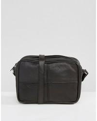 Schwarze Leder Umhängetasche von Reclaimed Vintage