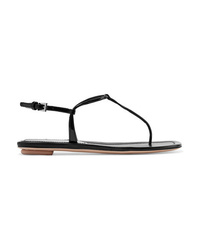 schwarze Leder Zehentrenner von Prada