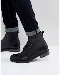 schwarze Lederarbeitsstiefel von Asos