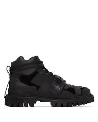 schwarze Lederarbeitsstiefel von Dolce & Gabbana