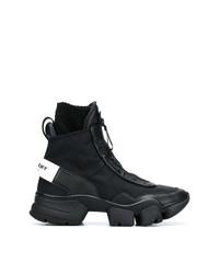 schwarze Lederarbeitsstiefel von Givenchy