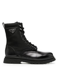 schwarze Lederarbeitsstiefel von Prada