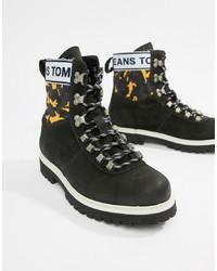 schwarze Lederarbeitsstiefel von Tommy Jeans