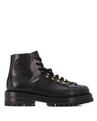 schwarze Lederarbeitsstiefel von Versace