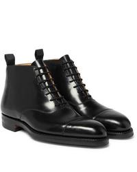 schwarze Lederformelle stiefel von George Cleverley