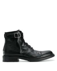schwarze Lederformelle stiefel von Saint Laurent