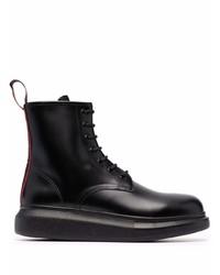 schwarze Lederfreizeitstiefel von Alexander McQueen
