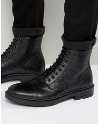 schwarze Lederfreizeitstiefel von Asos