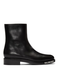 schwarze Lederfreizeitstiefel von Balenciaga