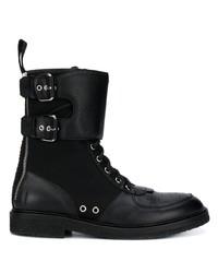 schwarze Lederfreizeitstiefel von Balmain