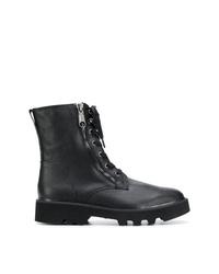 schwarze Lederfreizeitstiefel von Calvin Klein Jeans
