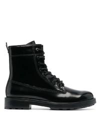 schwarze Lederfreizeitstiefel von Diesel