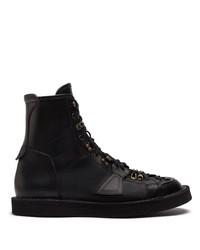 schwarze Lederfreizeitstiefel von Dolce & Gabbana