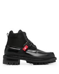 schwarze Lederfreizeitstiefel von DSQUARED2