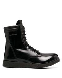schwarze Lederfreizeitstiefel von Emporio Armani