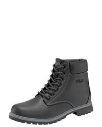schwarze Lederfreizeitstiefel von Fila
