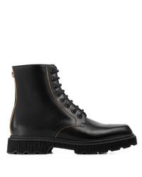 schwarze Lederfreizeitstiefel von Gucci