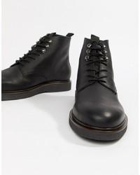 schwarze Lederfreizeitstiefel von H By Hudson