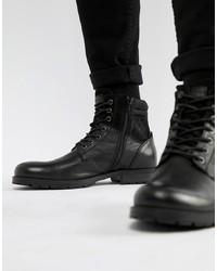 schwarze Lederfreizeitstiefel von Jack & Jones