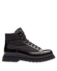 schwarze Lederfreizeitstiefel von Prada